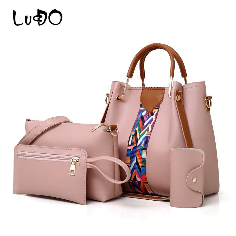 LUCDO 4PCS Set Luxury Handbags Women Bags Designer Female Capacity Shoulder Messenger Bags Leather Walle Purse Clutch Totes Bag