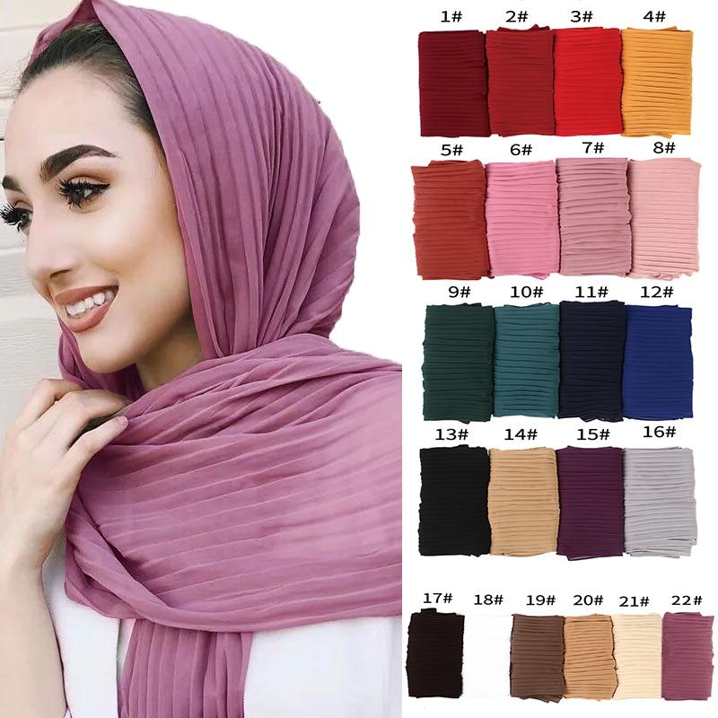 New Turkish Style Women Crumple Bubble Chiffon Solid Color Crinkled Shawls Pleat Headband Hijab Muslim Wraps Scarves/scarf