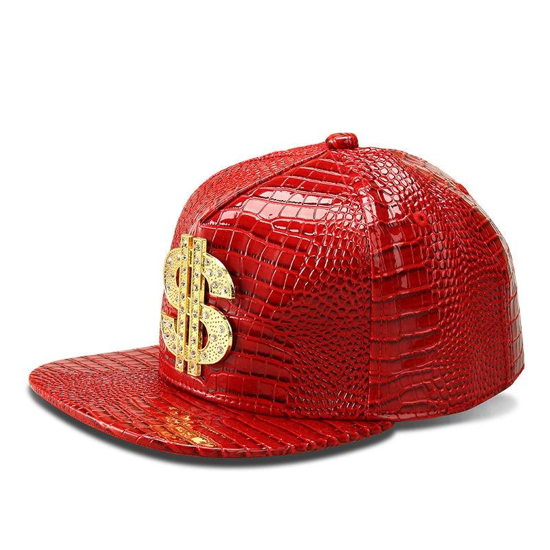 Faux Leather Baseball Caps Gold Dollar Letter Bling Hiphop PU Cap Unisex Gorras Snapback Hats Men Adjustable Fashion Casquette hters hiphop fashion letter hats gorros bonnets cocain