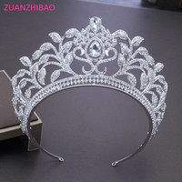ZUANZHIBAO New Bride Crown Hair Jewelry Vintage Big Tiaras And Crowns Stunning Rhinestone Tiara Luxury Wedding Hair Accessories