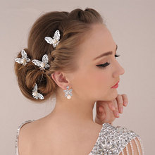 Модный головной убор для девушек, блестящая металлическая Золотая Бабочка, заколка для волос, ювелирные изделия для женщин, свадебные аксессуары для волос