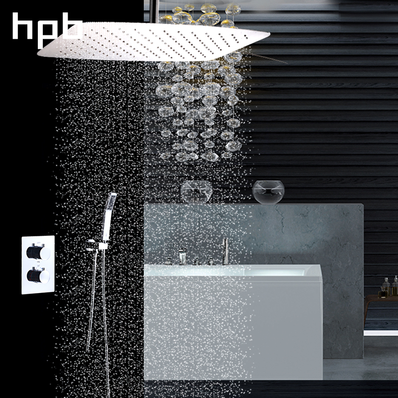 HPB Brass Bathroom Thermostatic Shower Set Three Functions Water Faucet Mixer Wall Mounted Bathroom Faucet Shower Head HP2204b&d bathroom thermostatic shower faucet shower head set wall mount shower faucet mixer brass shower faucet thermostatic mixing valve