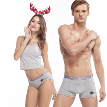 Gray Fashion Couple Underwear Set Cotton Panties NEW STYLE Comfortable Men Boxer Shorts Women