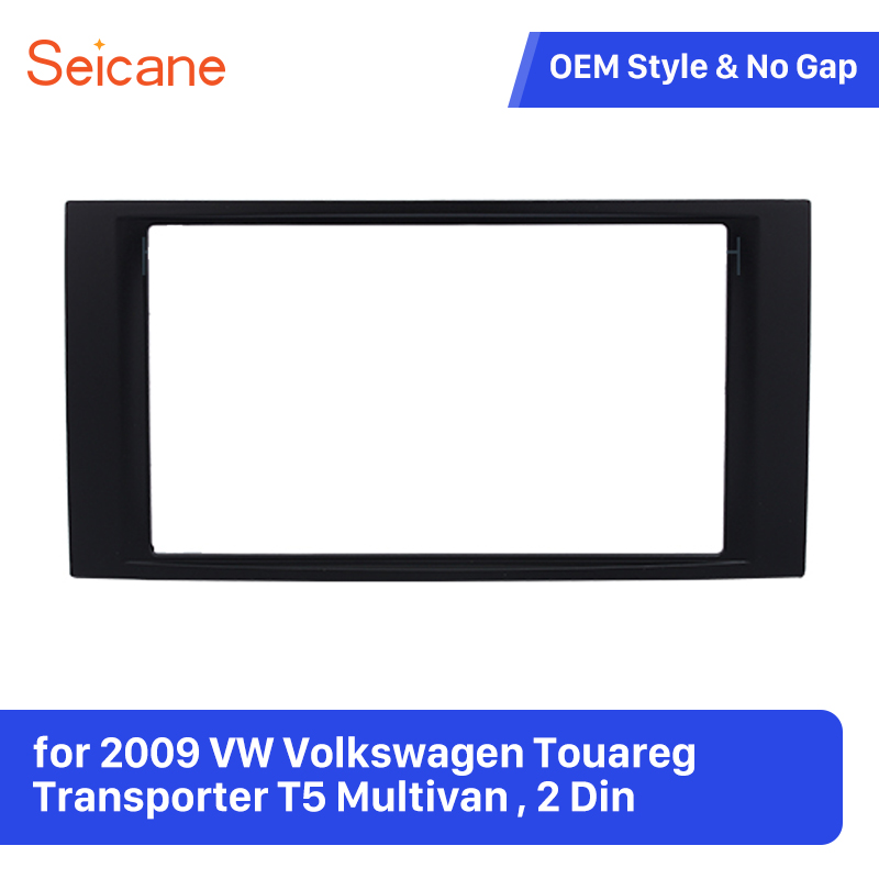 Seicane Double Din Car Fascia Panel Refitting Frame Kit for 2009 VW Volkswagen Touareg Transporter T5 Multivan Trim Bezel