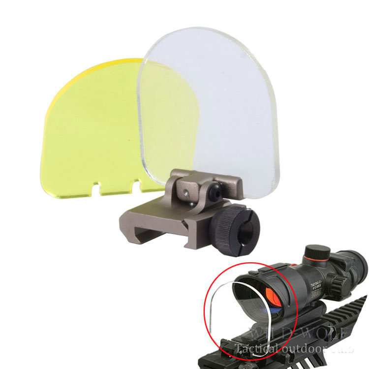 Hunting BB Balls Bulletproof Lens Scope Shields For Airsoft Tactical 551 556 557 scope red green dot (Folding Cover w/2 Lens)