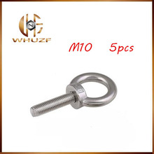 5pcs/lots M10*18 304 Stainless Steel Lifting Eye Bolts Round Ring Hook Bolt