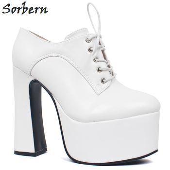 Sorbern Chunky Heels Women Pumps Block Heeled Shoes Platform Thick Sole Ladies Shoes With Heels High Size 45 More Colors