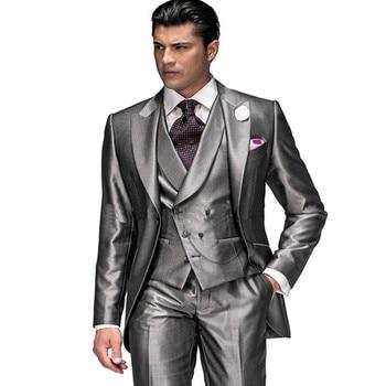 High Quality Men Suits For Wedding Prom 3 Pieces (Jacket+Pants+Vest) Slim Fit Men Suit Groomsman Best Man Groom Tuxedos Regular