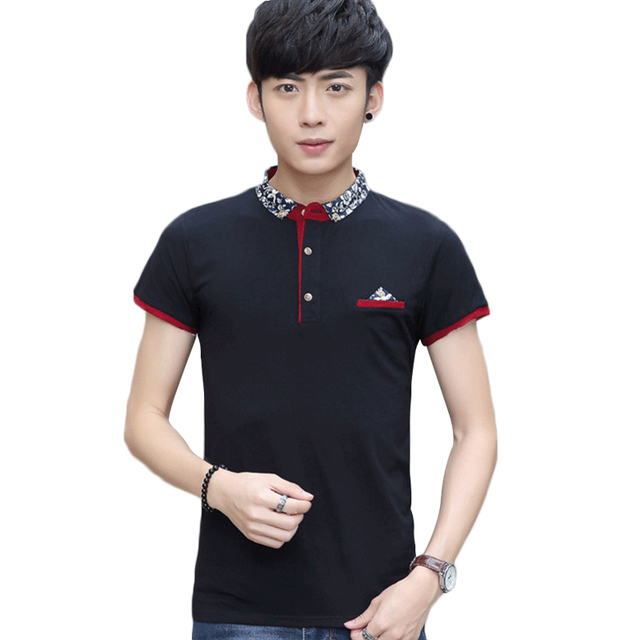 2016 New Good Quality Hight Elastic Soft Cotton Slim Men's Polo Shirts Patchwork Floral Turn Down Collar And Short Sleeves
