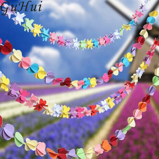 Us 5 1 20 Off Colorful Star Heart Round Flower Butterfly Shape Hanging Paper Garlands Flora String For Christmas Wedding Birthday Decoration In