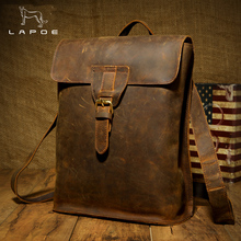 LAPOE Brand Men Real Genuine Leather Backpack Vintage Crazy Horse Rucksack Drawstring Extra Capacity Male Weekend