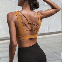 Sport Bra Top High Impact Strappy Workout Bra Sexy Cut Out Yoga Top Activewear Padded Sports Wear For Women Gym