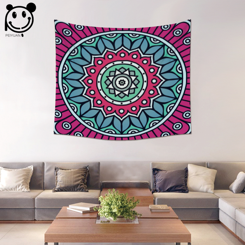 PEIYUANFactory Wholesale Custom Wall Hanging Table Cloth Tapestry Beach Towel Home Decorative Colorful India Mandala Tapestry