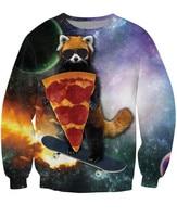 3D Sweatshirt Animal Raccoon Hold Pizza Play Skating Print Crewneck Sweatshirt Hoodies Men Sport Suit Winter
