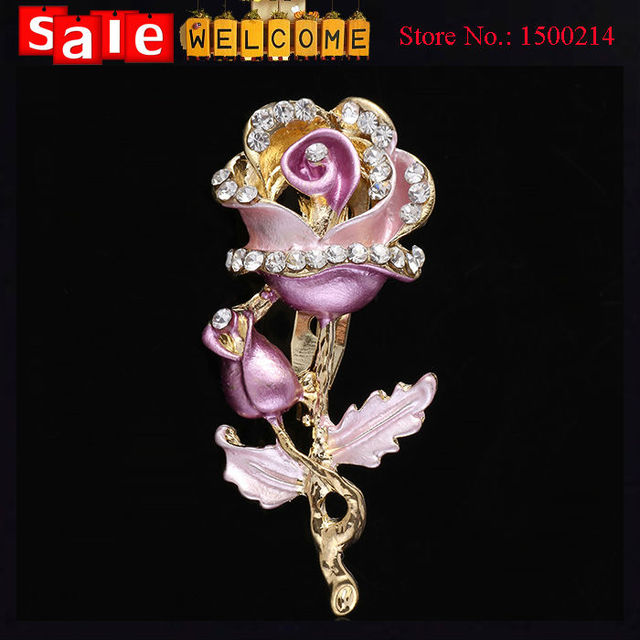 2017 12 pcs Rosa De Cristal Flor Broches Bouquets Broches Broche, Esmalte De Cristal Strass Casamento Mulheres Floral Broche Pin de Lapela