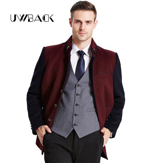 Uwback 2017 nueva marca winter trench coat hombres 6 colores plus tamaño 3XL Cazadora Abrigo de Lana Hombre Abrigo de Cuello Mao Hombres OA003