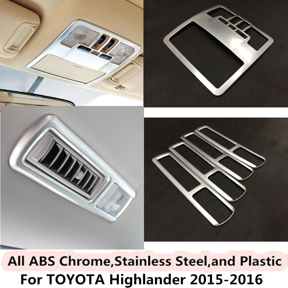 For Toyota Highlander 2015 2016 font b car b font styling stick cover detector ABS Chrome