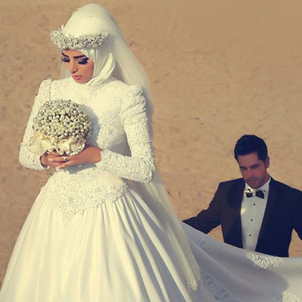 Wedding Gowns For Muslim Brides: Fashionable Long Sleeve Pearl Ball Gown Wedding Dresses
