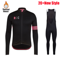 RCC 2019 New Pro Professional team Men Winter long sleeves Windproof warm Thermal Fleece cycling clothing set Jacket Bib Pants