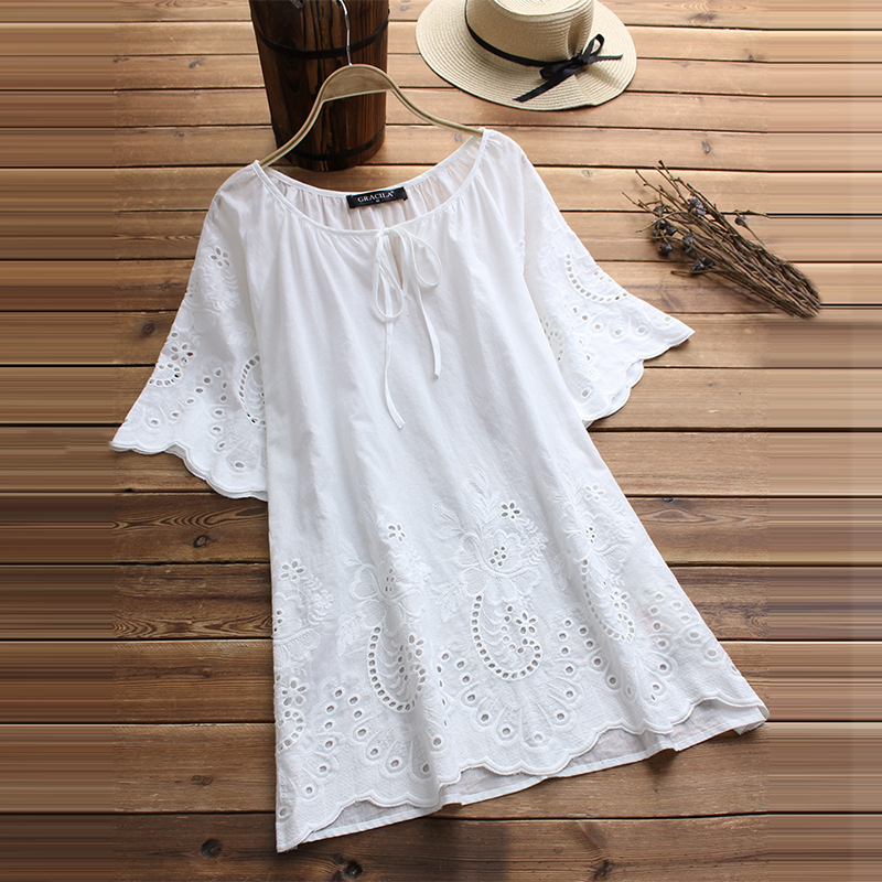 2020 Women Casual O Neck Hollow Out Cotton Linen Shirt Loose Whirt Top Embroidery Blusas Elegant Summer Flare Sleeve Blouse 5XL
