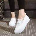 Новый низкий топ холст белые туфли досуг студенты женщины туфли на платформе 2017