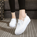 new low top canvas white shoes leisure students women platform shoes 2017