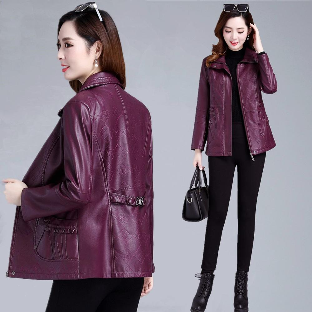 Size L-6XL 2019 spring and autumn new long women's   leather   jacket middle-aged mother loaded   leather   coat female outerwear