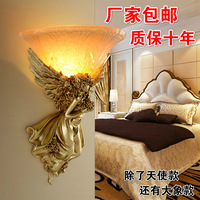 TUDA 2018 30x40cm Goldern Angel Sculpture Wall Lamp For Bedside Staircase Led Background Wall Hotel KTV