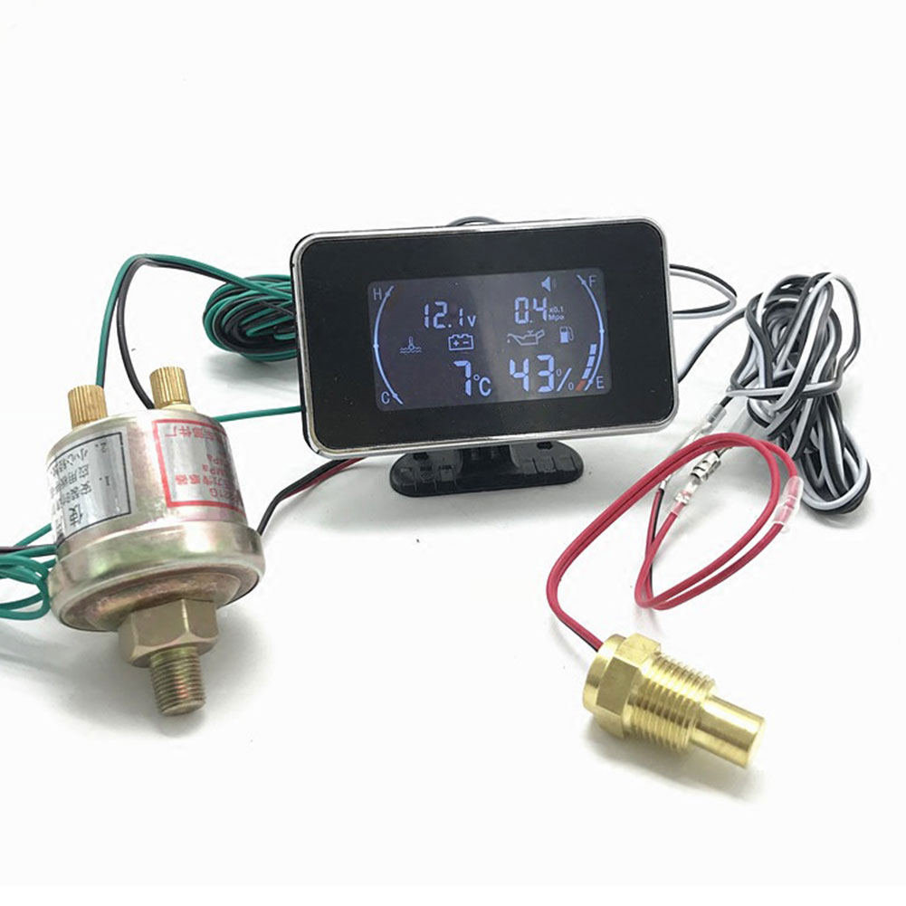 4 In 1 Oil Pressure Lcd Gauge Accessories Easy Install Digital Display Car Fuel Water Temperature Stable Truck Anti-bump Meter Auto Replacement Parts