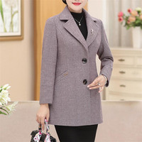 2019 spring autumn middle age women coat high quality elegant casual long sleeve Slimfemale caot plus size 6xl r1003