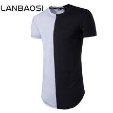 ФОТО lanbaosi contrast color t shirt mens stylish hip hop short sleeve patchwork street wear t shirt male slim fit top tees