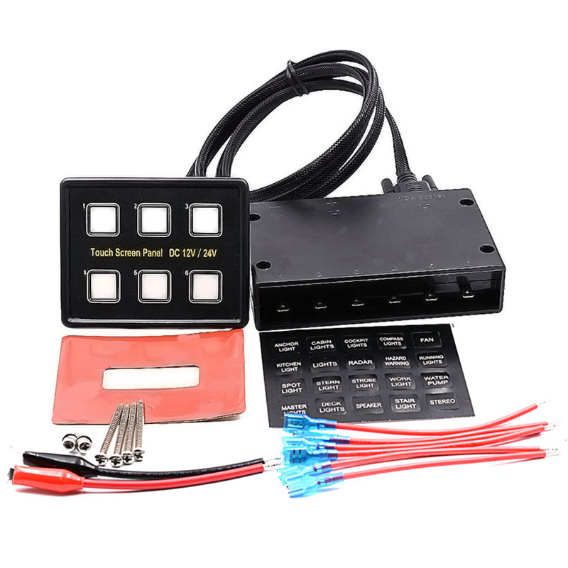 Touch the Combination Panel 6 Gang Boat Rocker Switch Panel Car Switch Panel LED Switch 120W