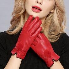 Harppihop gloves discount 2018 100% genuine leather gloves female sheepskin gloves women's thin thermal mink hair ball fashion
