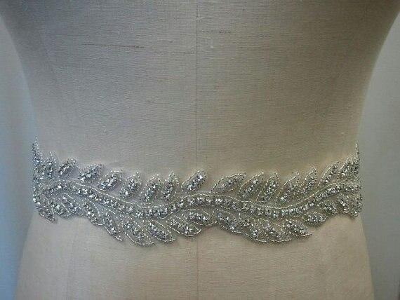 Commercio all ingrosso d argento bordato strass applique cintura