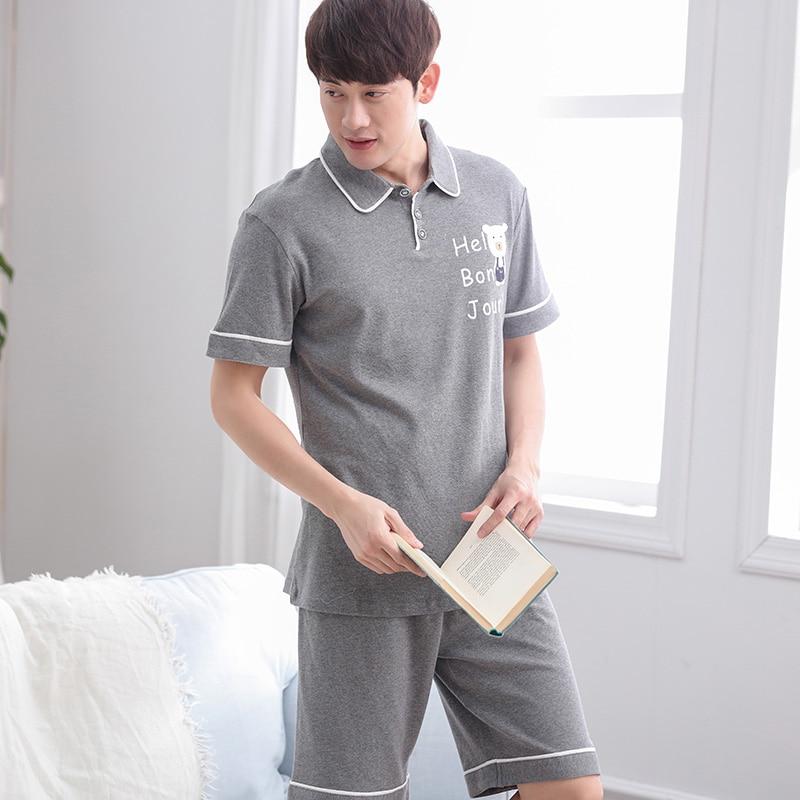 Men's Pajama Sets Popular Brand Free Shipping Mens Plus Size Short Sleeve Shorts V Collar Sleepwear Set Soft 100% Cotton Pajamas Nightgown Summer Homewear 5xl