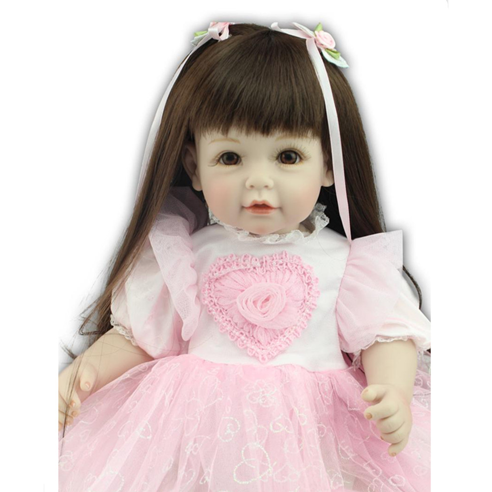New Style 45 CM Silicone Girl Dolls with Pink Dress, Cute 18 Inch Lifelike Baby Princess Doll Toys for Children sikhulumile sinyolo smallholder irrigation water security and rural household welfare
