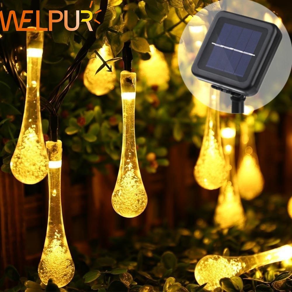 Solar Light Raindrops 5M 7M LED String Lights Fairy Lights Solar Garland Garden Wedding Holidays Christmas Decoration Outdoors(China)