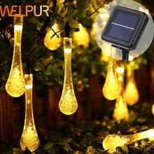 Guirnalda de luces LED solares para exteriores, guirnalda de luces de hadas para jardín, bodas, vacaciones, decoración de Navidad, 5M y 7M