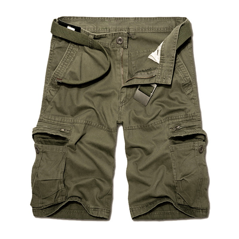 Litthing 2019 Casual Cargo Shorts Men Fashion Solid Loose Knee Length Short Pants Summer Pockets Streetwear Military Shorts Male