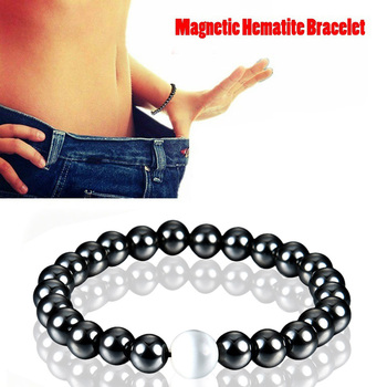 1Pc Weight Loss Round Black Stone Magnetic Therapy Bracelet Health Care Magnetic Hematite  Stretch Bracelet For Men Women 1