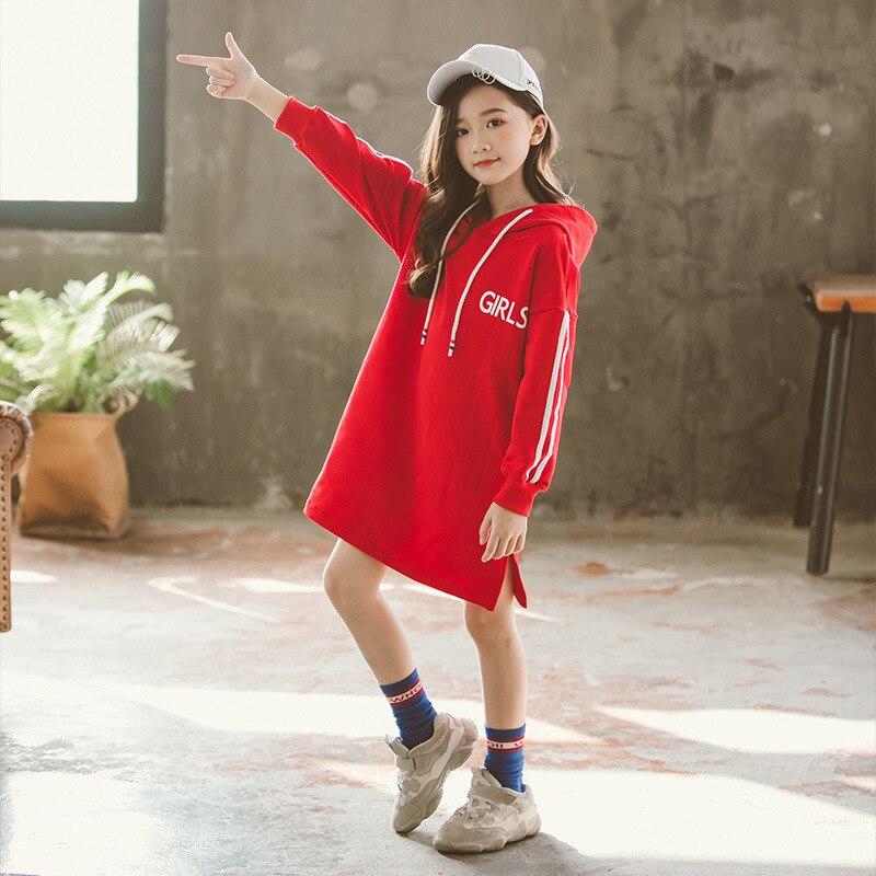 2019 Spring Teen Girl Children Sweater Dress Red Black -3808
