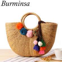 Burminsa Summer Pompon Straw Beach Women Handbags Large Capacity Female Handmade Tote Bags High Quality Woven Ladies Hand