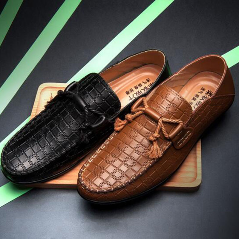 Men Checkered Printed Casual Genuine Leather Shoes,Round Toe Doug Single Shoes Non-slip Breathable Soft Buttom Driving Shoes