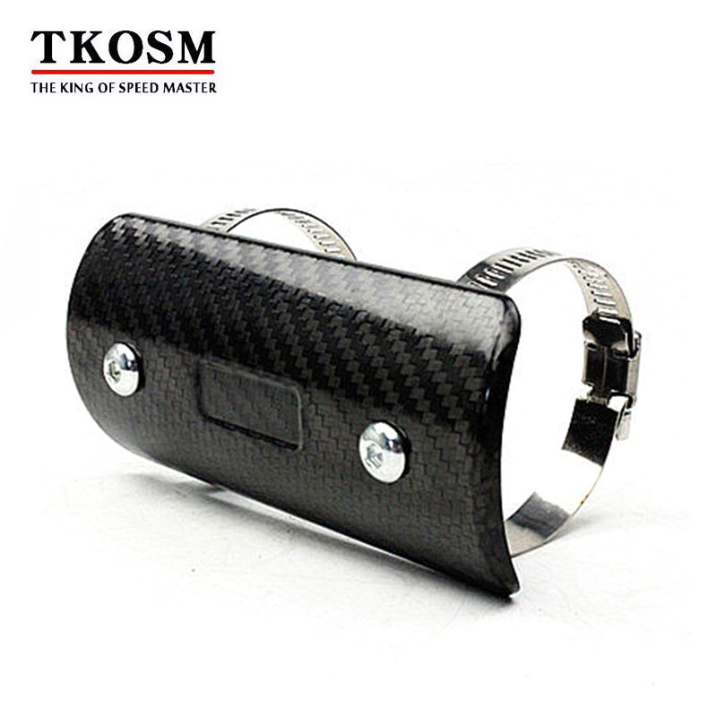 TKOSM Motorcycle Exhaust Muffler Cover Carbon Fiber Color Protector Heat Shield Cover Guard TMAX530 CB400 CBR300 Z250 Z750 in Exhaust Exhaust Systems from Automobiles Motorcycles