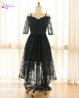 Waulizane Elegant Lace Half Sleeves High Low Evening Dresses Scalloped Classical Black Dres Plus Size Customize