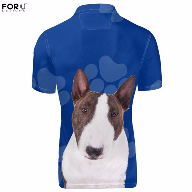 FORUDESIGNS Cute 3D Animal Bull Terrier Dog/Puppy Printing Men  Shirts Fashion Brand Summer Short Sleeve Clothes Funny Shirt
