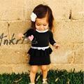 Nueva Lolita Vestido De Niña de Navidad Falso de dos Vestido de Niño los niños Ropa de Fiesta Vestido de Fiesta Año Largo Suéter de Punto Niña vestido