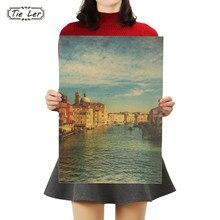Etiqueta da parede do cartaz da barra de papel de kraft da boa vista da cidade do turista de veneza