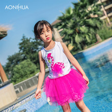 AONIHUA Swan Pattern Two Piece Swimsuit With Cap Sweet Girls Summer Bathing Suit Beauty Dress Children Girl Baby Kids