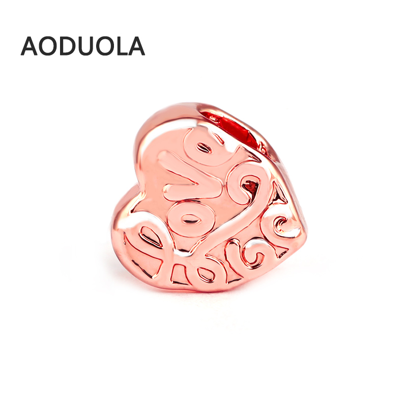 10 Pcs a Lot Rose gold color Alloy Beads DIY Heart love bead Big Hole Metal Spacer Bead Fit For Pandora Charms Bracelet